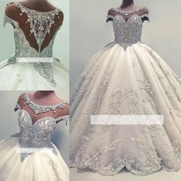 Discount rhinestone bodice appliques - Luxury Real Images Cap Sleeves Ball  Gown Wedding Dresses 2019 Shiny 986ad21cb763