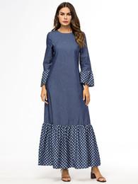 Islamische frauen langarm kleid online-Free shippin frauen denim jeans maxi langarm casual dress moslemischer kaftan langes kleid islamisches maxi dress