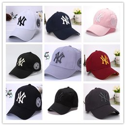 Wholesale ny pink - 2018 Fashion NY Baseball Caps 9 Colors Peaked Cap New Adjustable Snapbacks Sport Hats Free Drop Shipping Mix Order