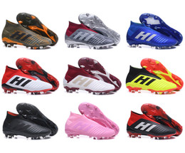 Wholesale womens beige boots - 2018 FIFA WORLD CUP Soccer Shoes Mens Kids Predator 18+ x Pogba FG Football Boots Womens Outdoor Soccer Cleats Boost 35-46