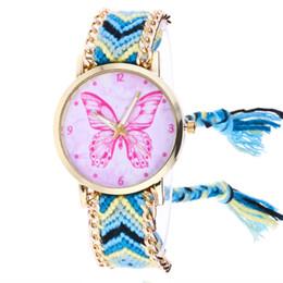 Argentina Mujeres Relojes Reloj de Pulsera Mariposa de Punto Tejido Cuerda Banda de Cuarzo Moda Reloj Femenino Reloj Mujer supplier rope watch bands Suministro