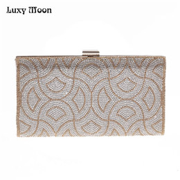 Wholesale Satin Bags For Jewelry - Luxy Moon Bling Crystal Clutch Purse Rhinestones Evening Bag for Women Jewelry Hard Case Handbags Bridesmaid Shoulder Bags ZD799