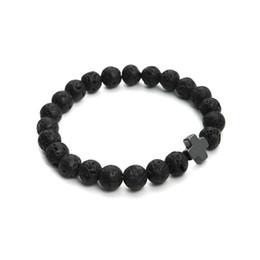 Wholesale Hematite Crosses - 2018 New 8mm Natural Lava Stone Beaded Bracelet Men Hematite Gallstone Cross Bracelets Pulseras Hombre Yoga Jewelry
