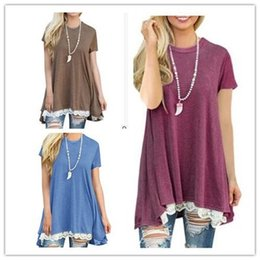 Wholesale Low Quality T Shirts - Wholesale-Women Pro Tshirts With Polyester High Quality Fashion Sexy Loose Clothing Round collar spliced lace T - shirt Low Price Summer