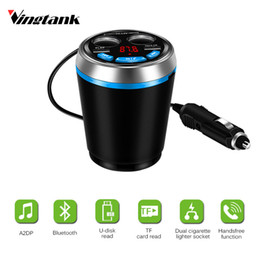 Vingtank 2 USB Car Bluetooth Auto FM Trasmitter USB Car Charger Cup Cigarette Lighter Splitter Power Charging For Smart Mobile