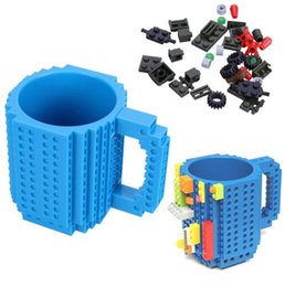 Wholesale Hot Coffee Cups Wholesale - 2018 Hot Creative Build-On Brick Lego Mug Type Building Blocks Lego Frozen Coffee Cup Diy Block Puzzle Mugs 12oz 350ml Christmas Gift
