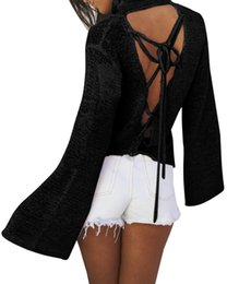 Wholesale Ladies Jumpers Wholesale - Women Sexy Backless Lace Up Knitwear Sweater 2017 New Lady Long Sleeve Pullover Autumn Jumper