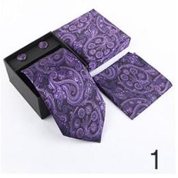 2019 caixas de gravata por atacado Mens business tie Jacquard terno mens gravata borboleta bolso toalha de presente de abotoaduras está disponível por atacado caixas de gravata por atacado barato