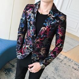 blumen blazer Rabatt Bronzing Blazer Masculino Slim Fit Mens Floral Blazer  Fancy Mens Nachtclub Blazer Party 5aa5595dbf
