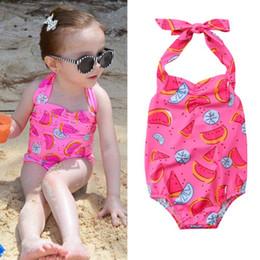 Traje de baño rosa para niños bebés niñas sandía de una sola pieza traje de baño Bikini traje de baño verde verano lindo ropa de playa ropa de verano Boutique desde fabricantes
