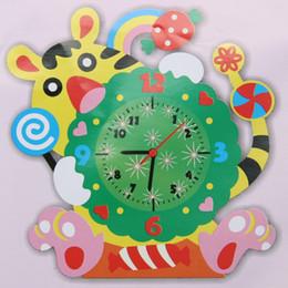 puzzles de camion de jouet Promotion EVA À La Main DIY 3D Horloge Animale Enfants Chambre Stickers Décoratifs Enfants Début Learinig Jouets Éducatifs