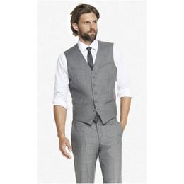 Wholesale Man Light Purple Wedding Vest - Light Grey Cheap Mens Waistcoat Formal Business Mens Vests Groomsmens Vest Wedding Prom Party Custom Made Casual Wear