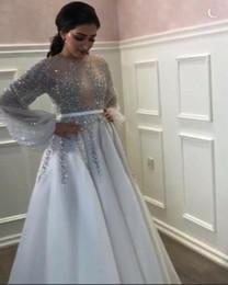 Canada Robe de soirée Yousef aljasmi Robe longue à manches longues Cristal perlé Tulle Jewel Chiffon A-Line Belle Moderne Classique Fashionable0004 Offre