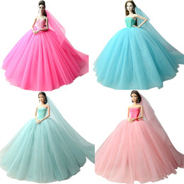Wholesale evening accessories - Doll Dress High quality Handmade Long Tail Evening Gown Clothes Lace Wedding Dress +Veil For Barbie 1:6 Doll Best Gift A609741
