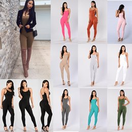 Wholesale girls sexy outfits - Women Solid Sexy Backless Bodysuit Rompers Girls Summer party elegant jumpsuit sleeveless one piece outfits Tracksuit 11 colors AAA724