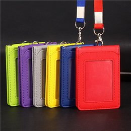 Wholesale Leather Id Card Badge Holder - Neck Strap Card ID bus Identity card Holder Badge with Lanyard Bank Credit Card Holders women men ljjf025