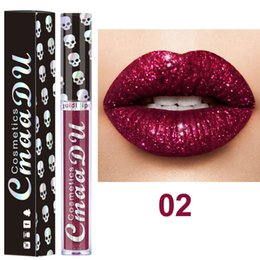 choose lipstick Promo Codes - 2018 CmaaDu Cosmetics Laser Skull Glitter Flip Lipgloss Metal Lipgloss Shinning Metallic Lipstick 8 colors as pic for choose