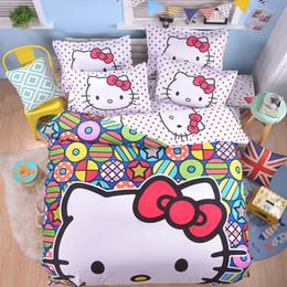 Juegos de sábanas dobles online-Dibujos animados Doraemon Hello Kitty Juego de cama Ropa de cama de algodón de poliéster Niños Niños Chicas Regalo Funda nórdica Sábana plana Funda de almohada Individual Doble Completa