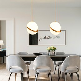 Wholesale Round Glass Lighting Pendants - Art Decor Designer Pendant Light Glass Ball Hanging Light Fixtures Creative Modern Round Pendant Lamp For Home Bar Decor