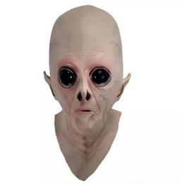 Masques alien en latex en Ligne-Liquidation Effrayant Silicone Visage Masque Extraterrestre UFO Extra Terrestre Partie ET Horreur Caoutchouc Latex Plein Masques Pour Halloween Party Jouet Prop