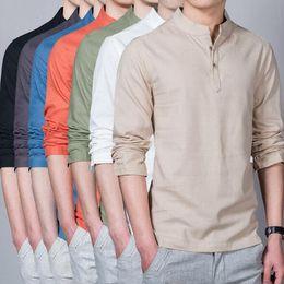 Top chino de manga larga online-7 colores hombres blusa de color sólido suelta de lino chino tradicional cuello estándar camisetas casuales top manga larga camisas casuales cca9116 5 unids