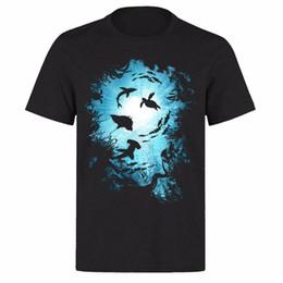 Alta obra de arte online-OCEAN LIFE HERMOSO MOTIF SHARK PESCADO ALTA RES. ARTWORK UNISEX BLACK T-SHIRT 2018 Nuevas camisetas de hombre de manga corta