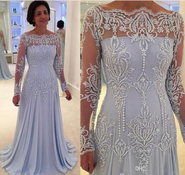 Wholesale modern ice - Ice Blue 2017 Vintage Long Sleeves Mother of Bride Dresses Sheer Neck Lace Appliques Mother Of Groom Dresses Floor Length Mother's Dress