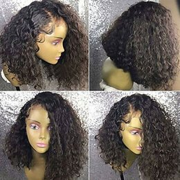 Wholesale Short Kinky Curly - Side Parting Brown Black Short Kinky Curly Cheap Wigs with Baby Hair Heat Resistant Glueless Synthetic Lace Front Wigs for Black Women