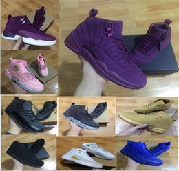 Wholesale Retro Trainers - With box Air Retro 12 Bordeaux Dark Grey Basketball Shoes Men Sport Shoe Bordeaux 12s Sports Athletic Trainers High Quality Sneakers