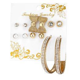 Wholesale woman hoop titanium earrings - 6 Pairs Set Gold Crystal Knots Women Earrings Hoop Earrings Studs Fashion Earrings Luxury Designer Jewelry Des Boucles D'oreilles