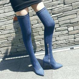 Wholesale Denim Stilettos - Knee boots Women thigh high boots DENIM high quality fashion high heels boot sexy shoes