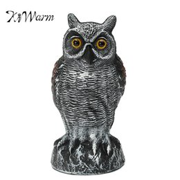 Puestos de aves online-Kiwarm Moda Realista Fake Standing Owl Bird Hunting Disparo Decoy Disuasor Repelente Home Garden Decor Ornament