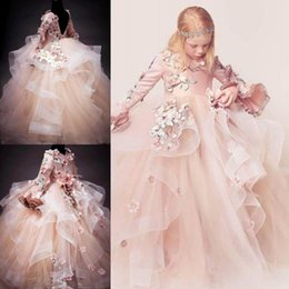 Wholesale Luxury Wedding Dress For Girls - 2018 Luxury Flower Girl Dresses For Weddings 3D Floral Appliques V-Neck Long Sleeve Lace-Up Girl's Birthday Dress Gorgeous Pageant Dress