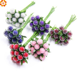 stami di fiore artificiale Sconti 12 pz Stamen Scrapbooking Bacche Frutta Decorativa Fiore Artificiale per la Cerimonia Nuziale casa decorazione corsage artigianato FAI DA TE Piante