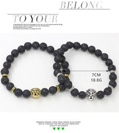 Wholesale Beads Amber - 4 Styles Natural Lava volcanic Amber Leo Lion Head Bracelet Buddha Designer Bracelet Mala Beads Lava Energy Yoga Bracelets Hip Hop Jewelry