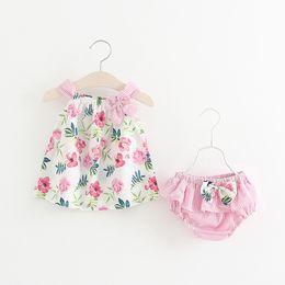 Wholesale Girl Dress New - INS styles new arrival Girl dress kids sleeveless 100% cotton flower print suspender dress girl dress + short girl clothing free shipping