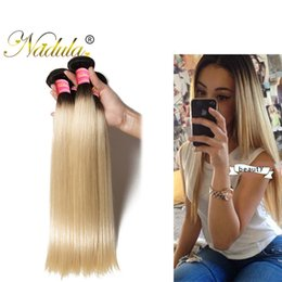 Wholesale Root Hair Color - Nadula T1B 613 Raw Indian Straight Hair Bundles Blonde Bundles Human Ombre Hair Extensions Dark Roots 3PCS Remy Human Hair Weave Wholesale