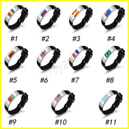 Wholesale Metal Wristbands - Russia World Cup Multinational Flag Bracelet for Men Women Football Fans silicon Wristband Male Bracelets Jewelry surprise doll toys