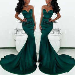 Wholesale black sexy fishtail prom dresses - 2018 Sexy Gorgeous Sweetheart Long Emerald Green Mermaid Evening Gowns Satin Fishtail Special Occasion Prom Dresses For Women Cheap