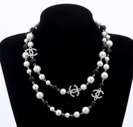 Wholesale Chains Multi Layer Necklace - long pearls necklace letters Brand Women CC Necklace For Women Sweater Chain Multi-layer Flowers Simulated Pearls Necklaces Jewelry EXL 474