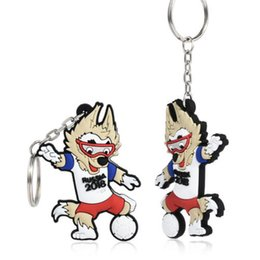 Wholesale wholesale wolf keychain - High Quality Zabivaka Wolf Official Mascot FIFA Soccer World Cup 2018 Russia PVC Keychain Free Shipping