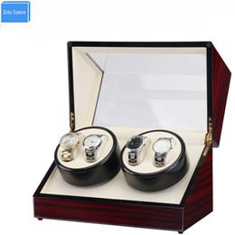 laque à bois Promotion Utilisation globale Plug Horloge Watch Winder Box, Bois de laque Rotation 4 Slots Watch Winder Box Slient Moteur Affichage Horloge Cas