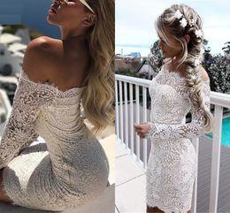 il merletto sexy ha tagliato i vestiti Sconti Inverno New Vintage Lace Prom Abiti senza spalline Slash Collo floreale bianco Abiti manica lunga Elegent Flower Slim DH4141