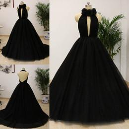foto di fiori rosa neri Sconti Immagine reale 2018 abiti da ballo sexy abiti da ballo nero profondo scollo a V Tulle Halter Fiore abiti da sera lunghi Vestido Longo personalizzato