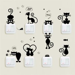 Güzel Kedi Işık Anahtarı Telefon Duvar Çıkartmaları Çocuk Odaları Için Diy Ev Dekorasyon Karikatür Hayvanlar Duvar Çıkartmaları Pvc Mural Art nereden büyük hayvan duvar çıkartmaları tedarikçiler