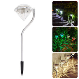 luci da giardino esterne del percorso solare Sconti Outdoor LED Solar Powered Garden Path Lanterne Lampade Lampade LED Diamonds Prato Luce Luce solare Pathway Christmas Decoration Lamp