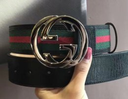 Wholesale 48 Fashion - 2018-G Big large buckle genuine leather belt with box designer men belts women high quality new luxury brand belt free shipping
