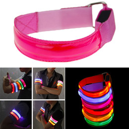 Wholesale Led Arm Light Band - Outdoor Sports Night Running Light Safety Jogging Led Arm Leg Warning Portable Wristband Riding Bike Bicycle Party Glowing Band