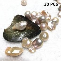 Wholesale Free Gift Packs - Free Shipping 30PCS AAA Natural Freshwater Flame Ball Fireball Pearl Oyster 12-20mm Big Baroque Individual Packing For Party gift