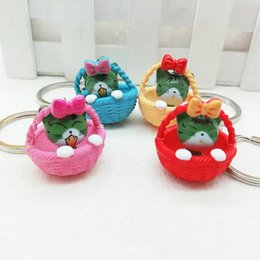 Wholesale girls pussy - 4PCs Cute Cartoon Pussy Cat Doll Key Ring Keychains Simulation Cat Key Chain Car Bag Pendants